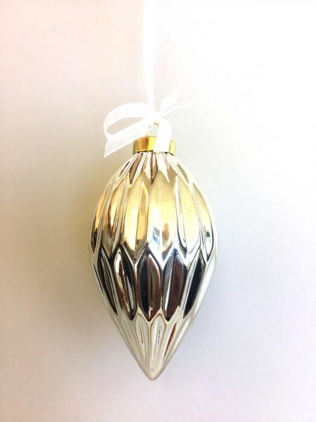 украшение подвесное из керамики фигурная шишка серебро 17486