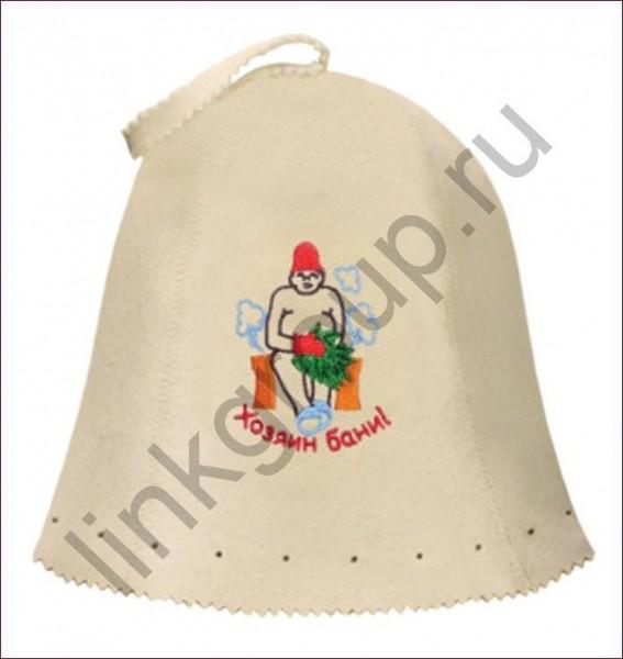 шапка банная банные штучки хозяин бани войлок 100% 41004 шапка д бани русские не сдаются вышивка войлок белый