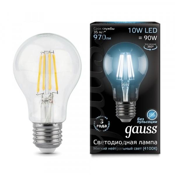 лампа светодиодная gauss филаментная e27 a60 10w 4100к лампа светодиодная gauss 102802108 e27 a60 8вт