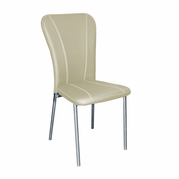 стул клео хром-зеркало/бежевый аэро, металл/иск.кожа с01.00.00