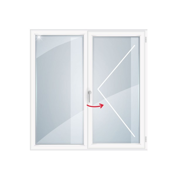 окно пвх rehau blitz new двухстворчатое глух.повор прав., однокамер. стек., 116 x 120 см