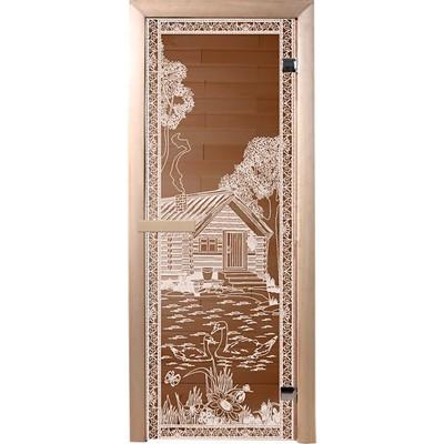 дверь из стекла банька в лесу 1,9*0,7 м, бронза 6 мм, коробка из хвойных пород, 2 петли, правое откр