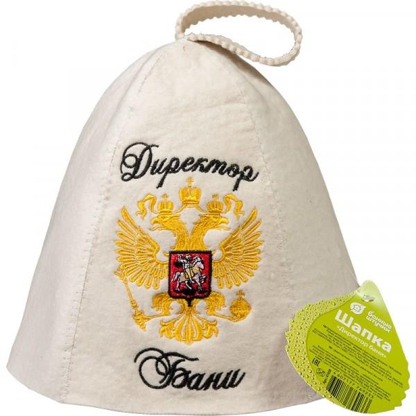 шапка банная банные штучки директор бани войлок 100% 41058 шапка д бани русские не сдаются вышивка войлок белый