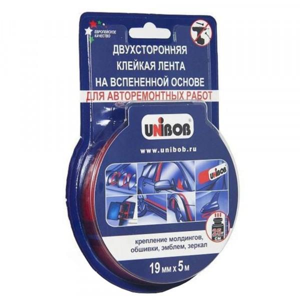лента двусторонняя клейкая на вспененной основе 19мм х 5м для автомобильных работ unibob 54998