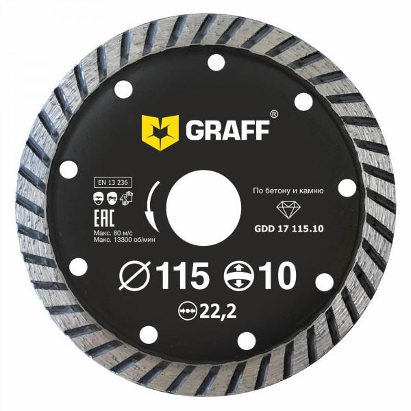 Фото - алмазный диск турбо по бетону и камню 115х10х2.0х22,23 мм graff gdd 17 115.10/20115 диск алмазный мастералмаз standard тип в 180х5х22 23 по камню сплошной