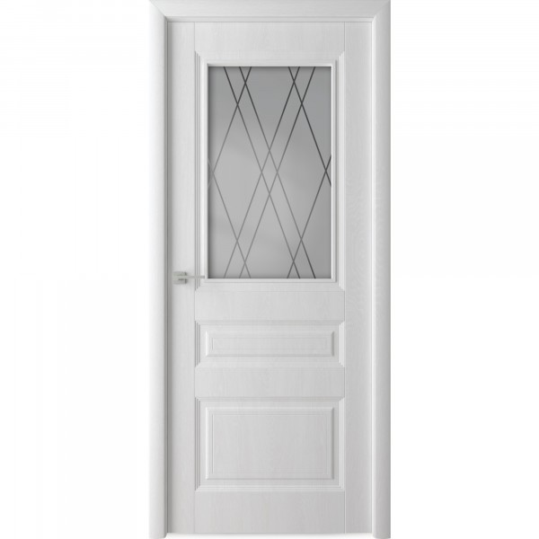 полотно дверное остекленное каскад,пвх 2000х600мм,белый ясень
