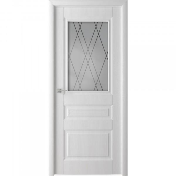 полотно дверное остекленное каскад,пвх 2000х800мм,белый ясень