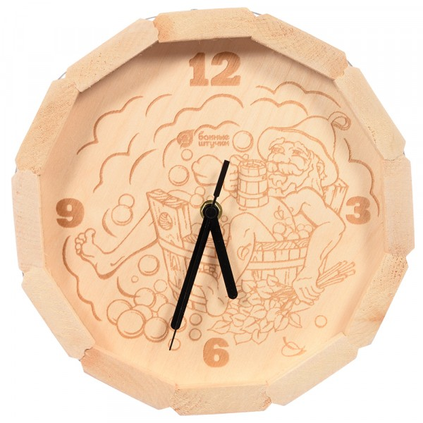 часы кварцевые в форме бочки в парилке для бани и сауны 27*8 см банные штучки