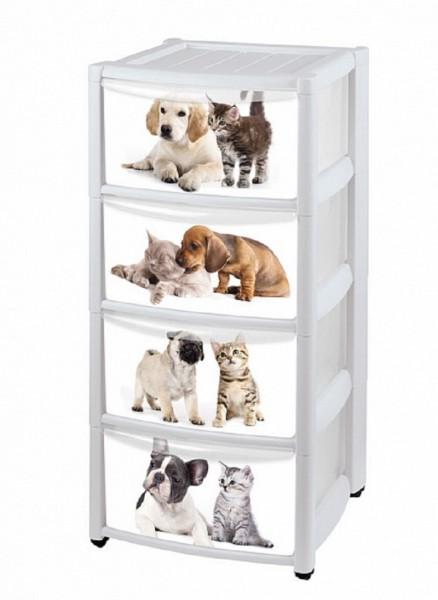 комод 4 секции кошки с собаками