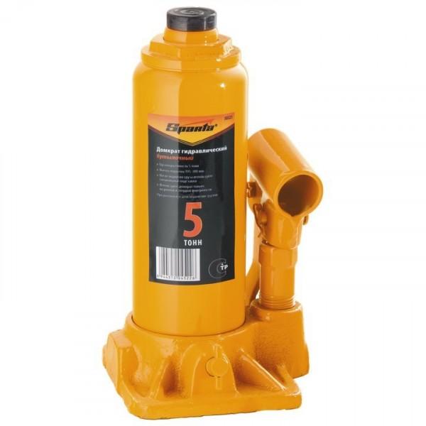 домкрат гидравлический бутылочный 5т h195-380мм sparta 50323