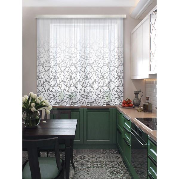 комплект штор для кухни кубик рубик 102412 3*1,7м серый/белый штора для кухни izkomoda sh140iv001 белый 140 40 лен