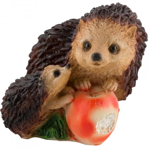 фигурка садовая ежики с яблоком, h14см