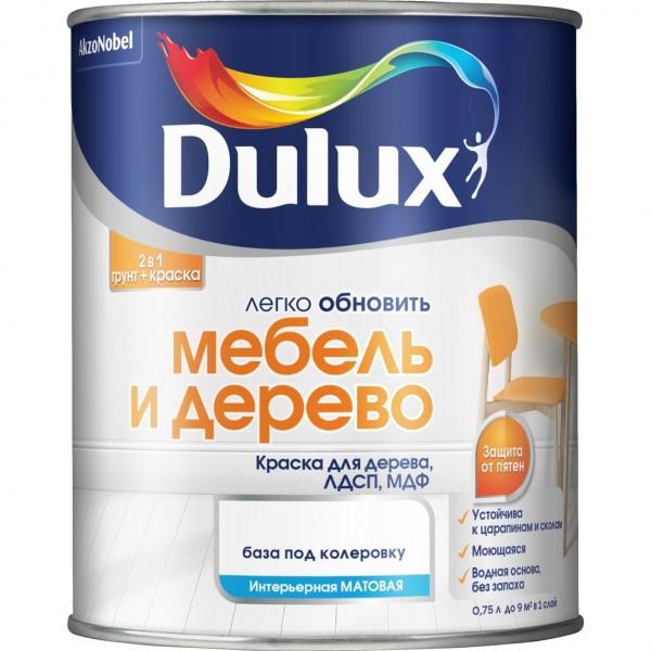 краска dulux мебель и дерево база bw белая матовая 2л