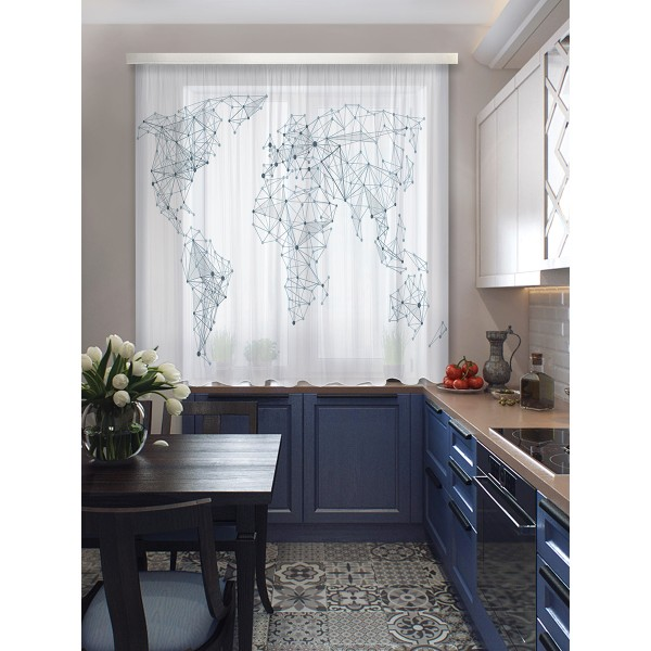 комплект штор для кухни карта мира 102422 3*1,7м серый/белый штора для кухни izkomoda sh140iv001 белый 140 40 лен