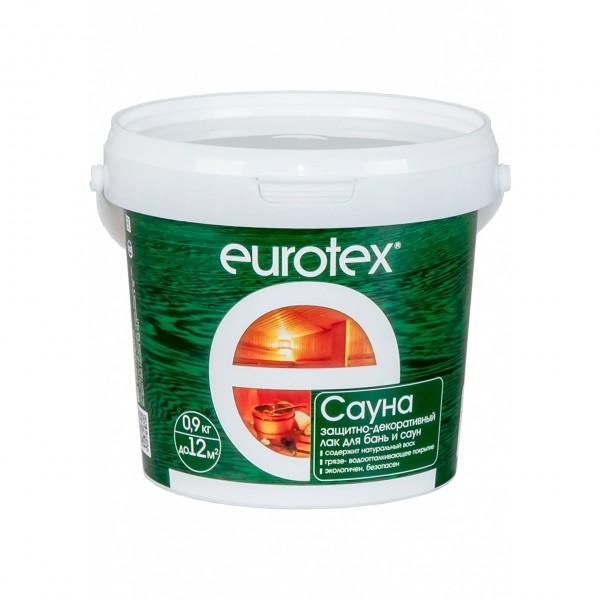 лак для бань и саун eurotex-сауна матовый бесцветный 0,9кг