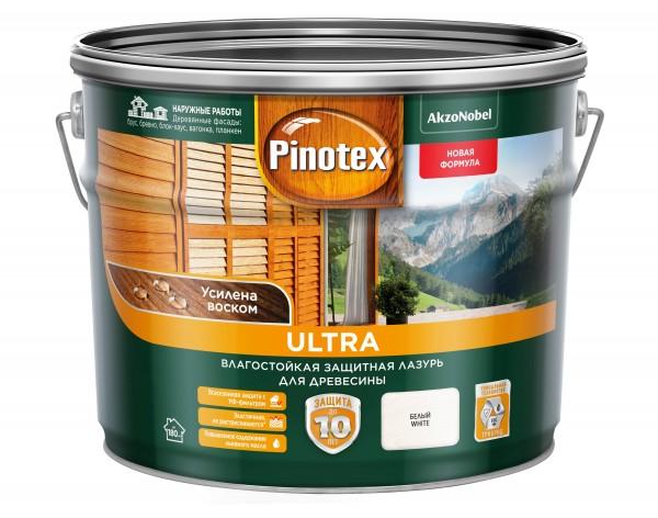 влагостойкая лазурь для дерева pinotex ultra белая 9л