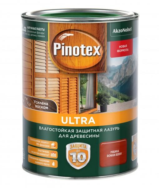влагостойкая лазурь для дерева pinotex ultra рябина 1л