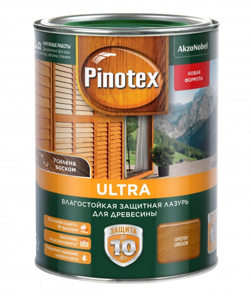 влагостойкая лазурь для дерева pinotex ultra орегон 1л