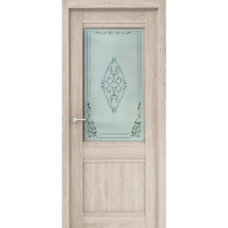 полотно дверное остеклённое эко сицилия дон,пвх 2000х600мм,дуб филадельфия крем