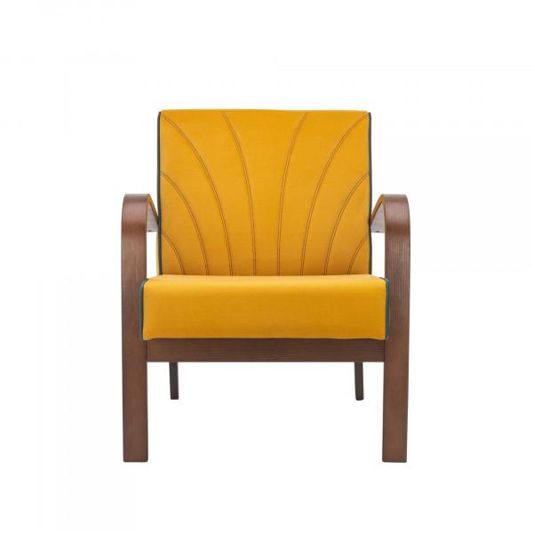 кресло классическое комфорт шелл 73х62см орех, ткань желтый