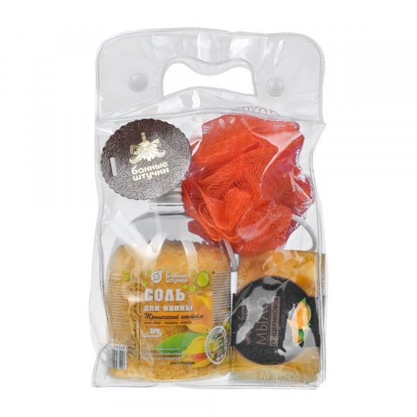 подарочный набор банные штучки 3 предмета (соль, мыло, мочалка)