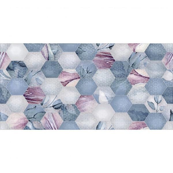 керамическая плитка ницца цветы рельеф 250*500 голубой 048806