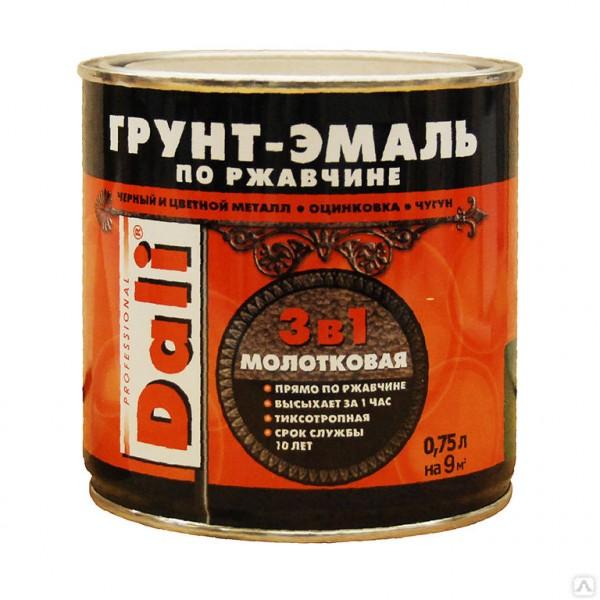 грунт-эмаль dali по ржавчине 3 в 1 молотковая 0,75л коричневый