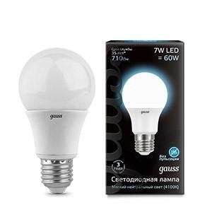 Фото - лампа светодиодная gauss led a60 e27 7w 4100k лампа светодиодная gauss 102502210 s led a60 10w e27 4100k step dimmable 1 10 50