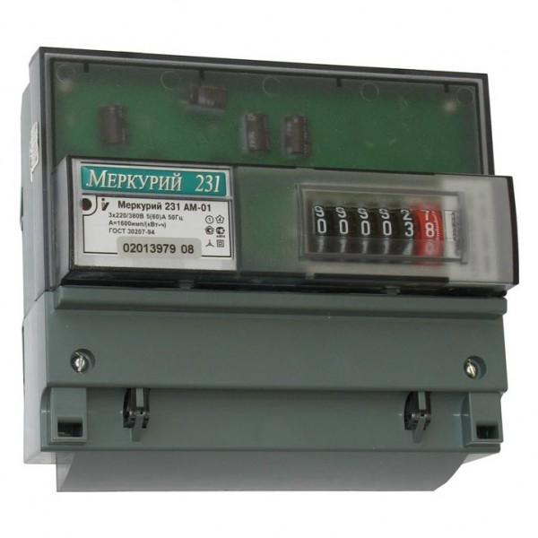 счетчик электрич. 3ф 5-60а 230/400в меркурий-231 ам-01 мех. однотарифный
