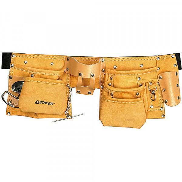 сумка - пояс для инструментов, кожаная, 10 карманов, 3 подвески stayer master 38512 сумка для инструмента stayer master 38550