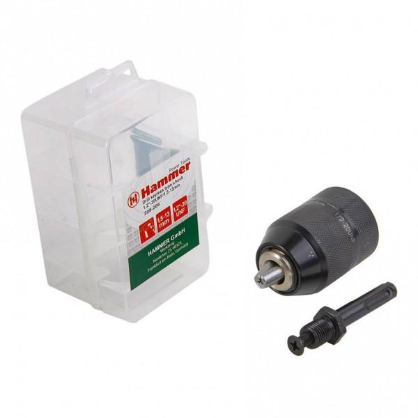 патрон для дрели бзп 1,5-13мм - 1/2 с адаптером sds+, металлич. блистер, 031-006 hammer flex 208-20