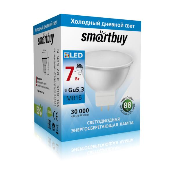 лампа светодиодная smartbuy led sbl-gu5_3-07-60k-n gu5.3 дисковая 7вт 6000к