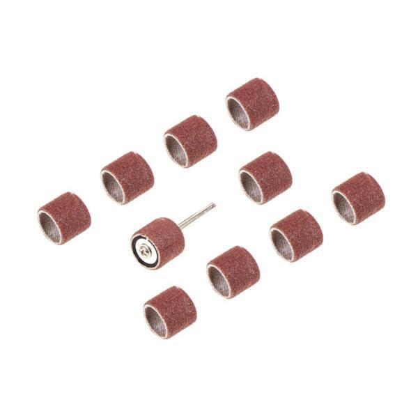 цилиндры наждачные для мини-дрели hammerflex 219-009, 13*13мм, с держателем, p120, 10 шт