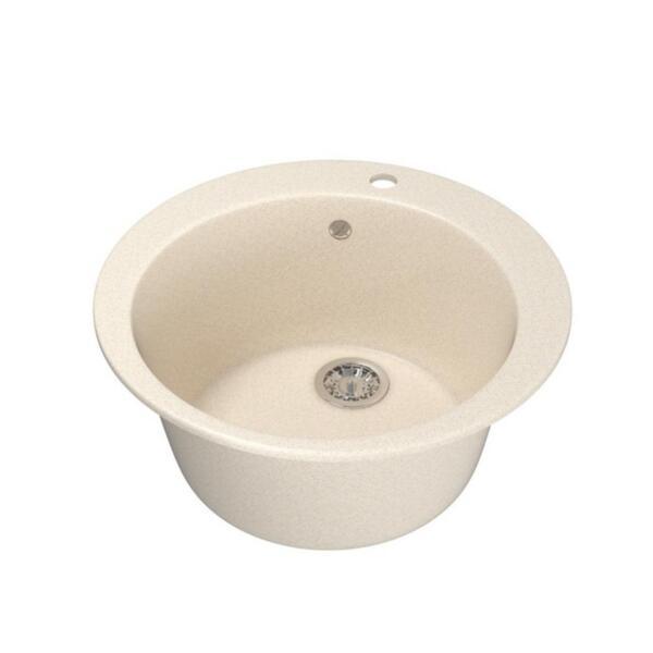 мойка кухонная mixline ml-gm13 49,5см круглая бежевая