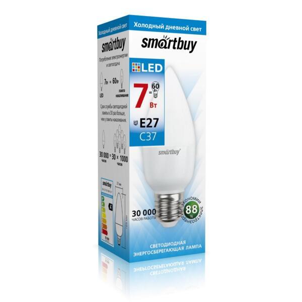 лампа светодиодная smartbuy led sbl-c37-07-60k-e27 е27 свеча 7вт 6000к