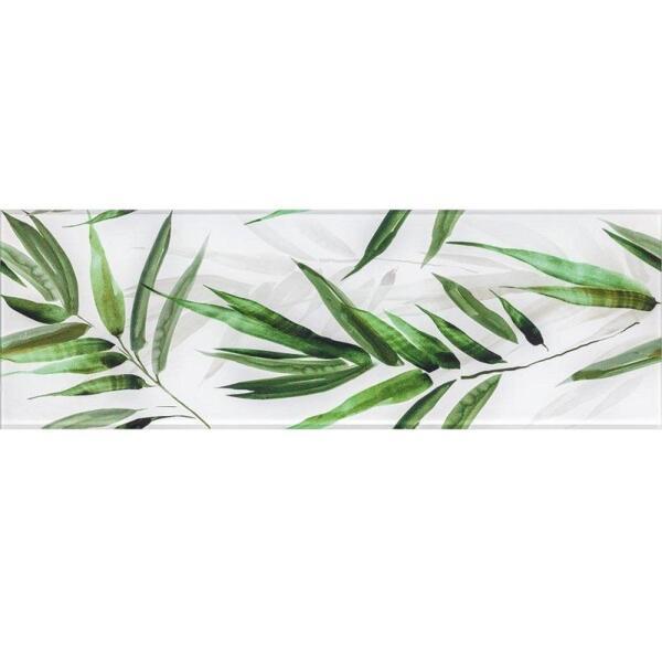 декор glass tropic a 25x75 зеленый (маленькие листья) 48362