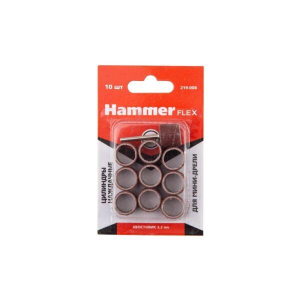 цилиндры наждачные для мини-дрели hammer flex 219-008, 13*13мм, с держателем, p60, 10 шт